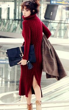 Chunky Knitted Red Turtle Neck Long Sweater Dress. The backside.