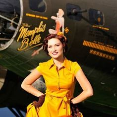 "One of our favorite girls to work with - 2012 cover girl Paige with ""the Movie"" Memphis Belle B-17. What a classic beauty. #bomber #pinup #pinupgirl #pinupstyle #calendargirl #retro #vintage #warbird #wwii #1940s #classy #aviator #aviation #aircraft #plane #photoshoot"