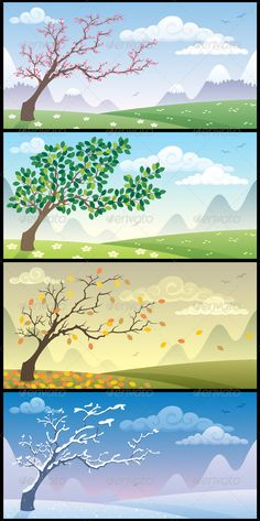 Illustration about Cartoon landscape during the four seasons. No transparency used. Illustration of country, nature, cartoon - 20578988 Cartoon Background, Vector Background, Vector Design, Graphic Design, Nature Vector, Banner, Vector Trees, Outdoor Crafts, Landscape Drawings