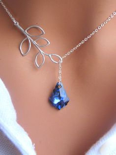 LOVE SALE Bermuda Blue and Branch lariat by RoyalGoldGifts on Etsy