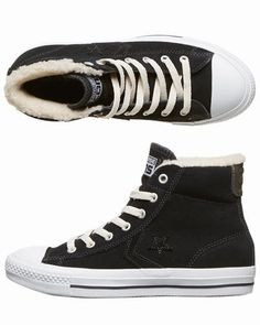 Converse - Shop here > http://www.surfstitch.com/eu/en/product/converse-star-player-ev-suede-shearling-mid-trainers-black-309850BLK #converse #sneakers #footwear