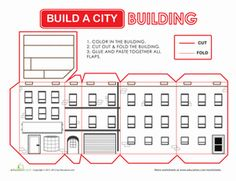 Second Grade Paper Projects Places Worksheets: Build a City: Building