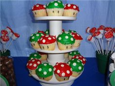 Mushroom cupcakes for the Mario Party