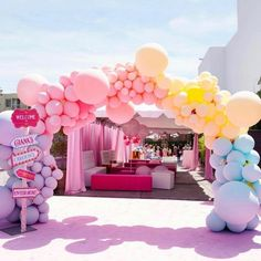 A playful and grand entrance for this carousel themed birthday party. The colours are playful and very appropriate for the age of this… Balloon Garland, Balloon Decorations, Birthday Party Decorations, Balloon Arch, Pastel Party Decorations, Carousel Birthday Parties, Rainbow Balloons, Gold Balloons, Latex Balloons