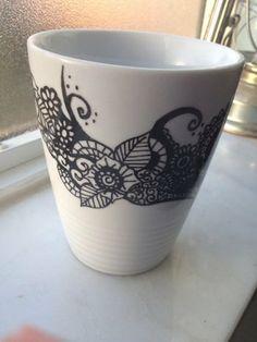 Henna Inspired Hand Drawn Sharpie Mug