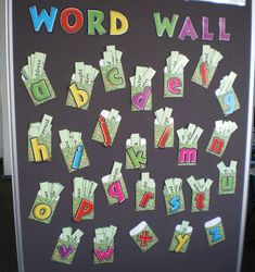 A nice system for a word wall catering to the older grades who use a lot more words! --- lettered library pockets with a slip for each word.