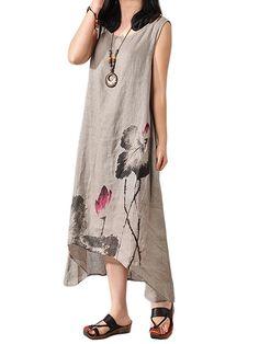 Loose Women Sleeveless Lotus Ink Painting Cotton Linen Irregular Dress at Banggood