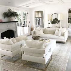 White living rooms home tour farmhouse style living room living room white living room designs home Living Room Chairs, Home Living Room, Apartment Living, Living Room Decor, Apartment Ideas, Elegant Living Room, Formal Living Rooms, White Couch Living Room, White Living Room Furniture