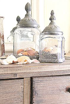 What better way to show off those shells from the beach this summer! Love these jars for our beach decor!