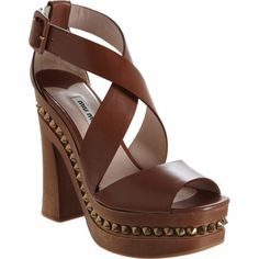 Miu Miu Criss Cross Front Studded Midsole Platform Sandal Sale up to 70% off at Barneyswarehouse.com
