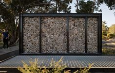 Image result for gabion with logs