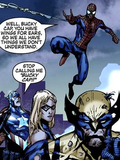 "Captain America, Spider-Man, Ms. Marvel & Wolverine (from the New Avengers #53) by Billy Tan - ""Well, Bucky Cap, you have wings for ears, so we all have things we don't understand."""