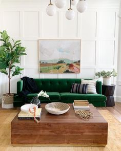 We are approaching the anniversary of being in our home for one year.and of course I'm reflecting. I still have things to… Eclectic Living Room, Living Room Green, Green Rooms, New Living Room, Living Room Sofa, Living Room Designs, Living Room Decor, Emerald Green Sofa, Green Velvet Sofa