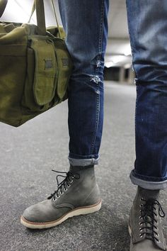 Gray Suede Boots with White Soles, Worn in Jeans, and Olive Carryall. Men's Spring Summer Street Style Fashion.