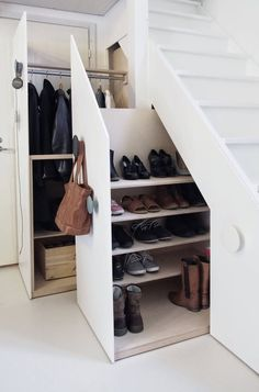 Closets Under Stairs for Coats and Shoes