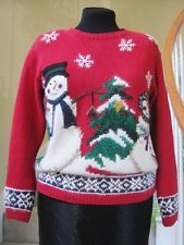 CROFT & BARROW Hand Made Snowman Sweater Size S - Petite