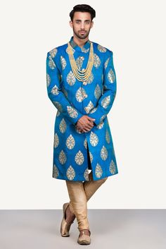 Image result for turquoise blue gold brocade sherwani