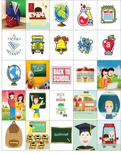 Free Printable-25 School Stickers For Your Happy Planner or Erin Condren Planner