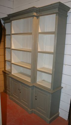 Built Break Front Bookcase.