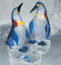 Murano Glass Two Penguins on Ice