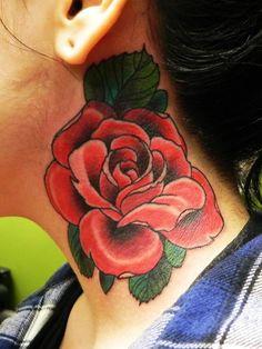 Justin Trey Boyle, Super Genius Tattoo, Seattle WA, color tattoo, red rose, neck tattoo.++ I always love a classic red rose