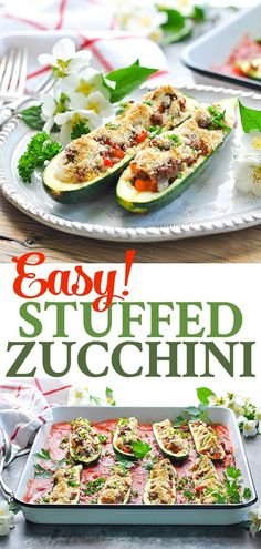 These stuffed zucchini boats are an easy healthy dinner recipe that can be made with ground beef or with beans for a vegetarian meal! Super Healthy Recipes, Easy Healthy Dinners, Healthy Foods To Eat, Healthy Dinner Recipes, Whole Food Recipes, Vegetarian Recipes, Vegan Vegetarian, Free Recipes, Vegetarian Cookbook