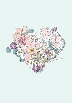 Spring Heart Fine art giclee print flower heart floral