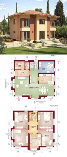 Schicke Stadtvilla mit mediterraner Landhaus-Architektur Walmdach & Putz Fassade gelb - Grundriss Einfamilienhaus Haus Evolution 165 V3 Bien Zenker Fertighaus - HausbauDirekt.de