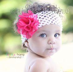 Big Hot Pink Chiffon ON Big White Crochet Headband: Baby Headbands- Baby Bow Headbands - Hair Bows - Baby Tutus at Princess Bowtique