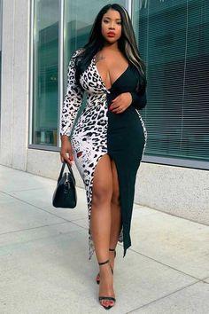 Women Midi Slit V Neck Long Sleeve Sexy Bodycon Leopard Plus Size Dress - Green, Curvy Women Fashion, Girl Fashion, Fashion Site, Latest Fashion, White Long Sleeve Dress, Dress Black, Sleeve Dresses, Swimsuits For Curves, Women's Fashion Dresses