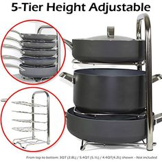 BTH Height Adjustable Pot Pan Organizer Rack 5-Tier: 10, 11