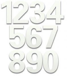 Residential, stainless steel, 6 inch house numbers with a marshmallow white finish by Houseart; these house address numbers are made in a bFuller font. House Address Numbers, Address Plaque, House Numbers, Mailbox Installation, Cluster Mailboxes, Commercial Mailboxes, Doorbell Button, Spark Up, Solar Lamp