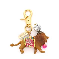 Lenora Dame Lion Bag Charm ($66) ❤ liked on Polyvore featuring jewelry, pendants, multi, lion charm, neon jewelry, lenora dame, charm pendant and lock charm