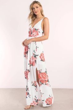 8815105e52e9 Show off in the In Mind Rose Print Maxi Dress. Featuring a low back and.  Tobi.com