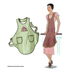illustration for Sewing pattern for 1920s vintage apron from Decades of Style Pattern Company. One yard of fabric, cut on the bias.