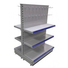 This free standing gondola display shelving is extremely versatile. Image shown flat shelf display with peg panel display above. Peg hooks available in a range of sizes. Store Shelving, Metal Shelving, Wall Shelving, Gondola Shelving, Peg Hooks, Silver Walls, Shop Fittings, Shelf Display, Retail Shop