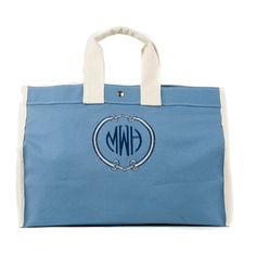 Blue Canvas Tote with Custom Equestrian Design