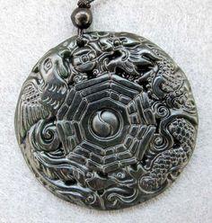 Natural Stone Dragon Phoenix Tai-Ji 8-Diagram Amulet Pendant 44mm x 44mm TH080. 3,03e