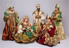 Nativity Set with the Holy Family and Wisemen. Nativity Stable, Diy Nativity, Christmas Nativity Set, Christmas Villages, Christmas Home, Christmas Crafts, Christmas Decorations, Christmas Ornaments, Nativity Scenes