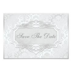 Damask RSVP Wedding Invitations Elegant Silver Damask Wedding Save The Date Card