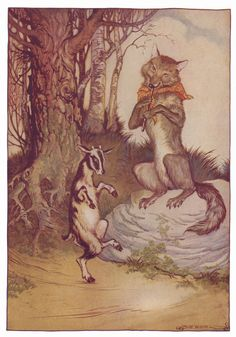"""The Wolf and the Seven Little Kids is a fairy tale told across the world. The mother goat tells her """"kids"""" to not open the door for the wolf. She says """"The wretch often disguises himself, but you will know him at once by his rough voice and his black feet."""" The wolf is deemed magickal because he tries to decieve the kids by first changing his voice by eating chalk to soften his voice. Then he whitens his feet with powder to look like hooves."""