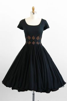 Gorgeous 1950s Black Chiffon Party Dress with Harlequin Diamond Waist. Skirt is made from two layers of silk chiffon. By I. Magnin & Co.
