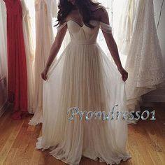 Elegant white chiffon off-shoulder long prom dress