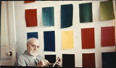 Henri Matisse in front of gouache-painted...