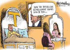 A political cartoon about Republicans getting in bed with Donald Trump.
