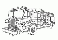 Tiller Fire Truck coloring page for kids, transportation