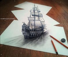 1-3d-pencil-drawings artist unknown... #animatedgifimage  by me: #designbynettis   #drawings   #3dart   #ship   #gifimages2015   #artgif