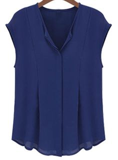 Shop Blue V Neck Sleeveless Chiffon Blouse online. SheIn offers Blue V Neck Sleeveless Chiffon Blouse & more to fit your fashionable needs. Blouse Dress, Sleeveless Blouse, Navy Blouse, Long Blouse, Blouse Patterns, Blouse Designs, Catwalk Design, Casual Outfits, Fashion Outfits