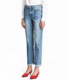 Straight Cropped High Jeans   Denimblå   Dame   H&M DK