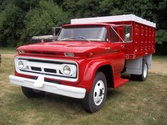 New red Chevrolet grain truck
